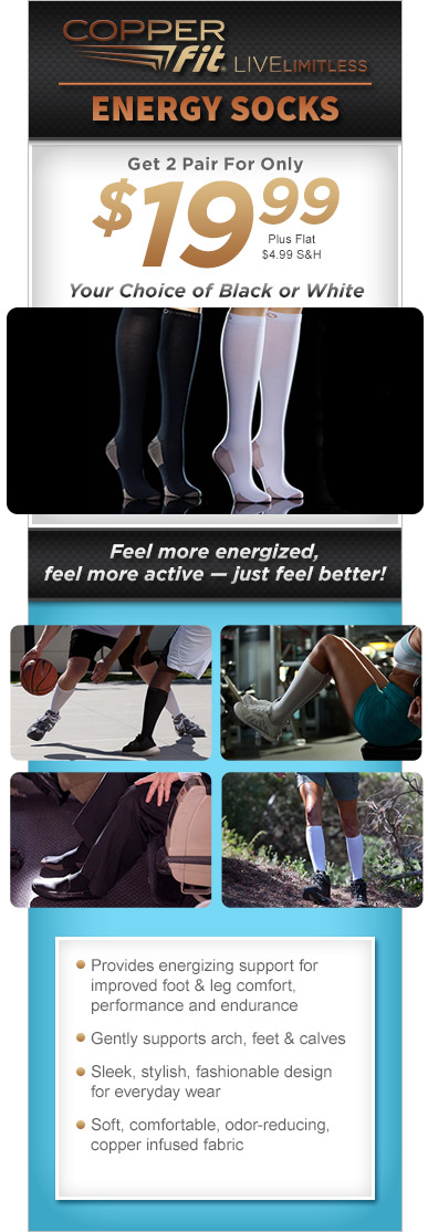 Order Copper Fit® Energy Socks Now!
